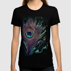 Peacock Feather Womens Fitted Tee Black SMALL