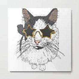 Buddy The Cat Star Glasses Metal Print