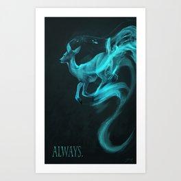 Always: [spectral deer] Alan Rickman tribute Art Print