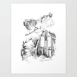 Wendy Thompson Hut - Single Line Art Print