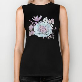 Turquoise and Violet Succulents Biker Tank