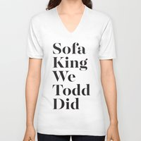 sofa V-neck T-shirts featuring Sofa King by Black Sole