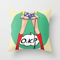 dc comics Throw Pillows featuring COMICS by mark ashkenazi