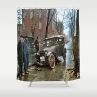 jewish Shower Curtains featuring Rainy Day, Washington, D.C. by Brown Eyed Lady