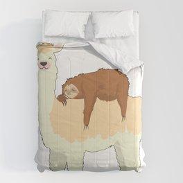 Cute Llama with a Sleeping Sloth Gift Comforters
