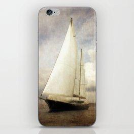 sailboat in grunge iPhone Skin
