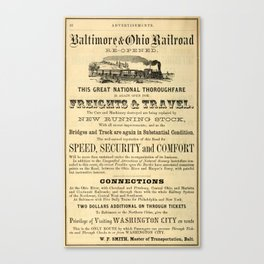 Advertisement for the Baltimore and Ohio Railroad from 1864 Canvas Print