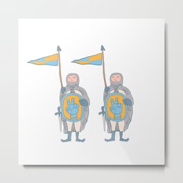Knights in armour with shield and sword. Metal Print