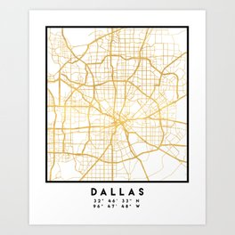 DALLAS TEXAS CITY STREET MAP ART Art Print