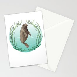 West Indian Manatee in Eel Grass Wreath Stationery Cards