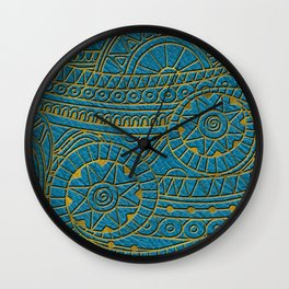 Tribal Ethnic  Pattern Gold on Teal Leather Wall Clock