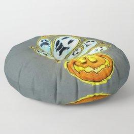 Pumpkins, ghosts and some bat Floor Pillow
