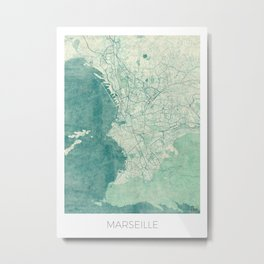 Marseille Map Blue Vintage Metal Print