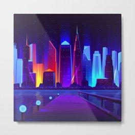 Synthwave Neon City #7 Metal Print