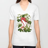 flamingo V-neck T-shirts featuring Flamingo by Fifikoussout