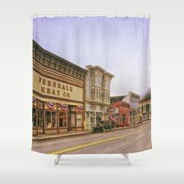 Ferndale -  California -  Downtown -  Buildings -  Town -  Hdr - Vintage illustration. Retro décor. Shower Curtain