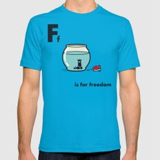 F is for freedom - the irony Teal Mens Fitted Tee LARGE