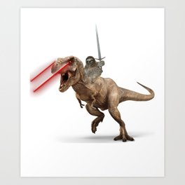 Awesome Sloth Riding Laser Dinosaur with Claymore Art Print