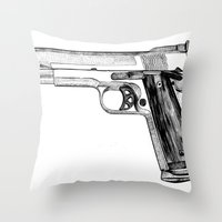 gun Throw Pillows featuring GUN by Seth Beukes