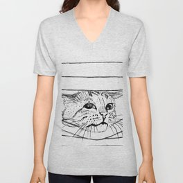 Cat in venitian blind Unisex V-Neck
