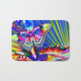 Neon Pop Art Beautiful Butterfly Bonanza  Bath Mat