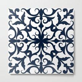 Navy Blue Fleur De Lis Floral Damask Pattern Metal Print