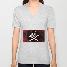 Jolly Roger With Eyeballs Unisex V-Neck