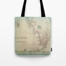 Antique Florida Keys Map Tote Bag