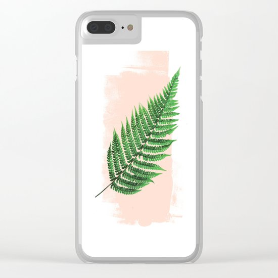Fern Leaf on Pink Clear iPhone Case