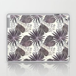 Gray tropical pattern on light beige background. Laptop & iPad Skin