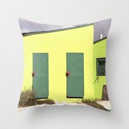 Lime green Caribbean building Throw Pillow