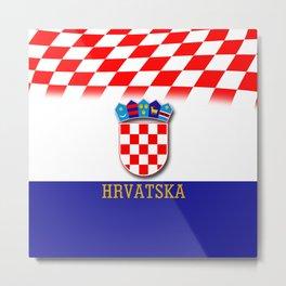 Croatian Flag Pattern EURO 2016 Metal Print