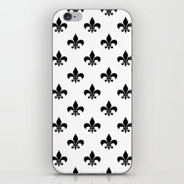 Black royal lilies on a white background iPhone Skin