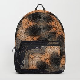 Burnt orange mandala in metallic bits and pieces Backpack