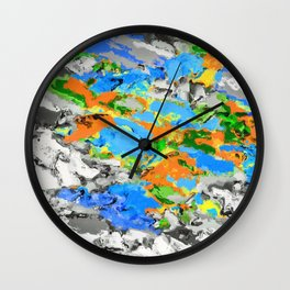 psychedelic splash painting abstract texture in blue green orange yellow black Wall Clock