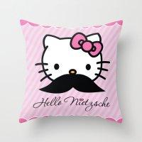 nietzsche Throw Pillows featuring Hello Nietzsche by elvisbr