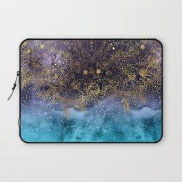 Gold floral mandala and confetti image Laptop Sleeve