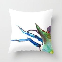 Crab, Turquoise, Olive Green Purple Sea world artwork Throw Pillow