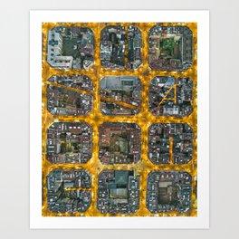 The grid of Barcelona at night Art Print
