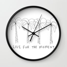 Live For The Moment no.2 - palm trees illustration summer California Hawaii tropical beach shore Wall Clock