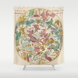 Aries Antique Astrology Zodiac Pictorial Map Shower Curtain