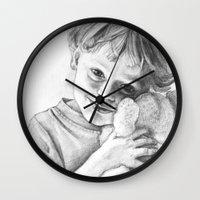 teddy bear Wall Clocks featuring Teddy Bear by VicFreyd