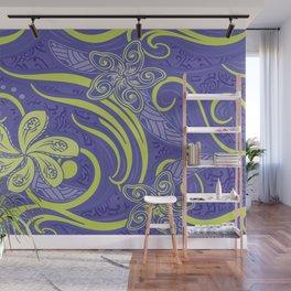 Polynesian Kiwi Lime Tropcal Floral Wall Mural