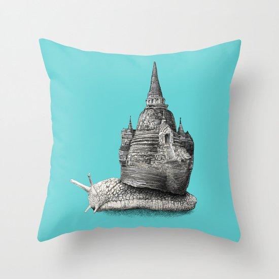 The Snail's Dream (monochrome option) Throw Pillow