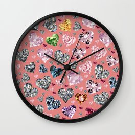 Heart Diamonds are Forever Love Pink Wall Clock