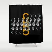 moon phases Shower Curtains featuring The Moon phases by tuditees