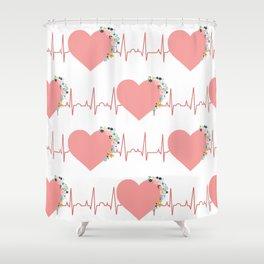 Flower ECG Hearts Shower Curtain