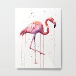 Pink Flamingo Portrait Watercolor Animals Birds | Facing Right Metal Print