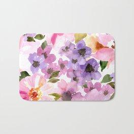 Pink Purple Watercolor Flowers Bath Mat