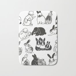 Black and White Bunnies Bath Mat